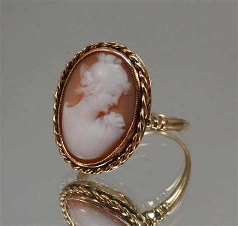 Victorian Cameo Ring  Antique English Cameo Ring  14k Gold