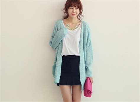 2014 Korean Simple Long Sweater Cardigan V Neck Long Sleeve Women Casual Azure Sweater