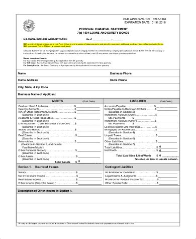 sample personal financial statement forms  ms