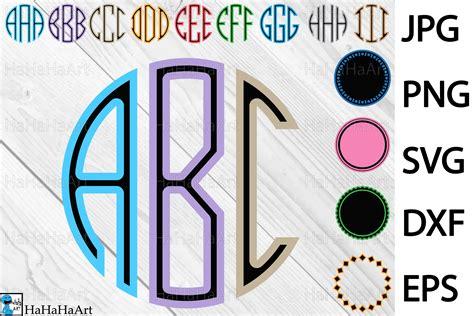 circle monogram alphabet clip art cutting files