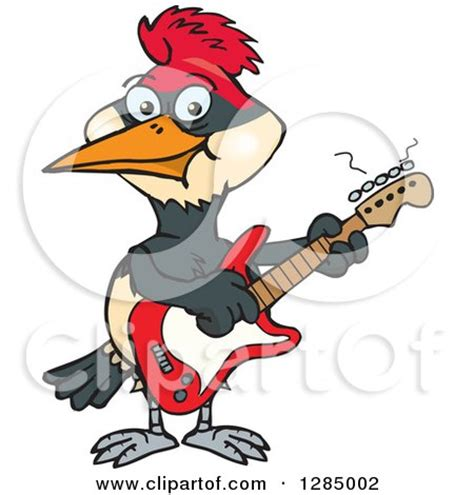 cartoon   retro vintage black  white woodpecker