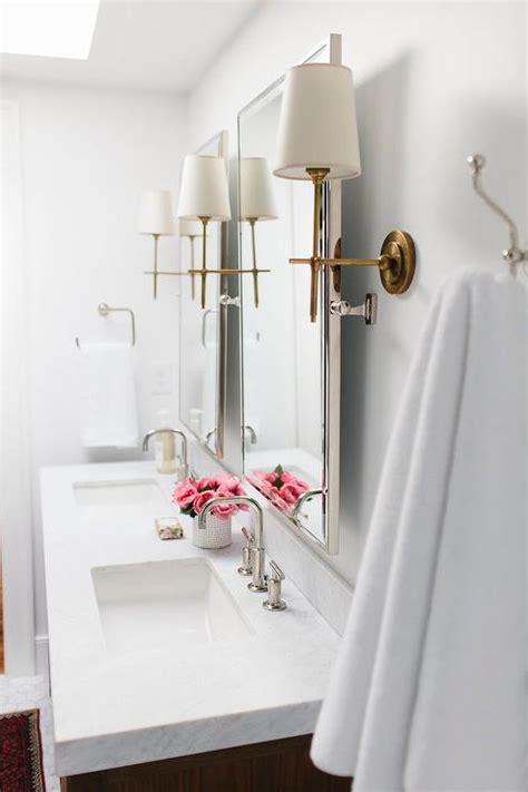 nickel bathroom mirrors  antique brass sconces