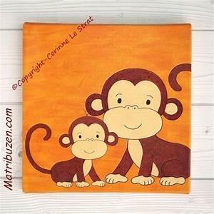 Tableau Pour Chambre Bébé : d coration murale pour chambre d 39 enfant sur la jungle tableau maman singe et son petit ~ Teatrodelosmanantiales.com Idées de Décoration