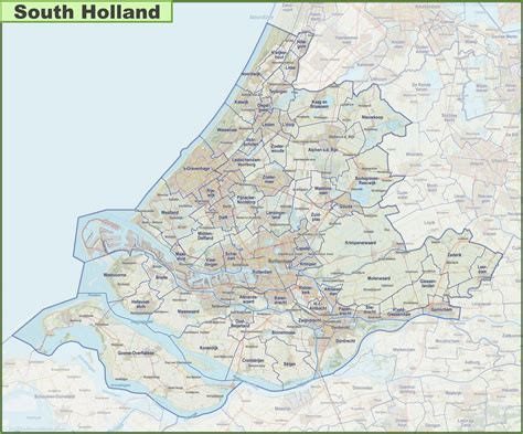 map  south holland  cities  towns