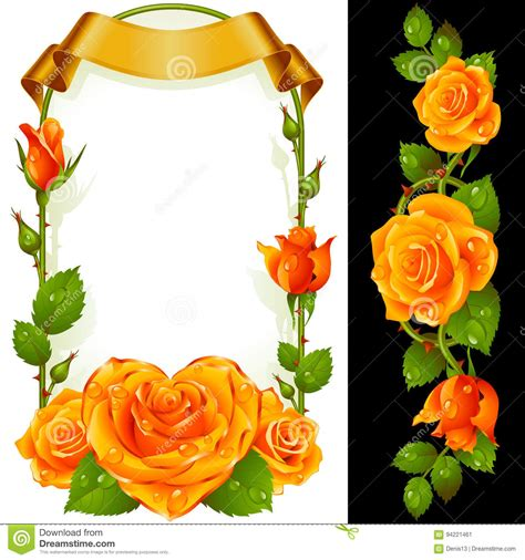 Vector Set Of Yellow Roses Decoration Stock Vector