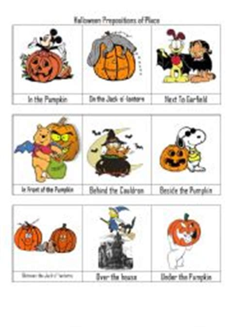 Halloween Prepositon Of Place Flashcards  Esl Worksheet By Vickiii