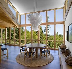 Modern, Open, Plan, Wood, House, In, The, Middle, Of, A, Forest