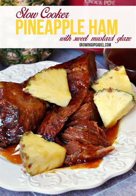 ham pineapple cooker slow mustard glaze glazed sugar brown sweet dinner juice dish then end main cooked delicious easy