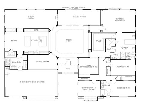 cool single story  bedroom house plans  home plans design
