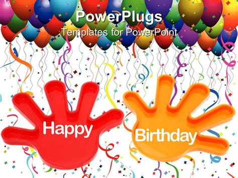 free happy birthday template powerpoint template hands with the words happy birthday