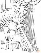 Coloring Harp Rhinoceros Pages Playing Drawing Printable sketch template