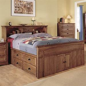 Bedroom Captain Style Queen Size Wood Bed With Drawers