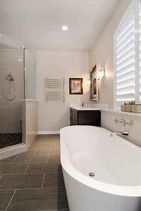 Modern, Master, Bathroom, With, Glass, Enclosed, Shower, And