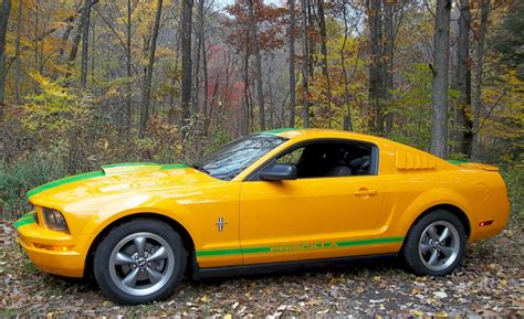 grabber orange  ford mustang coupe mustangattitude