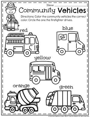 community helpers preschool theme planning playtime 486 | Community Helpers Unit for Preschool Coloring Community Vehicles