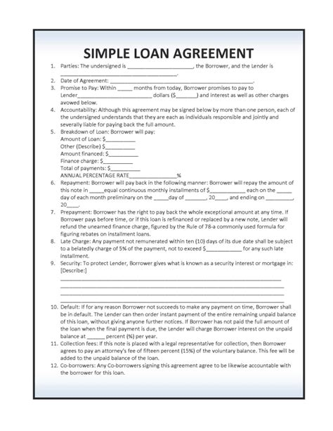 simple loan agreement template  rtf word