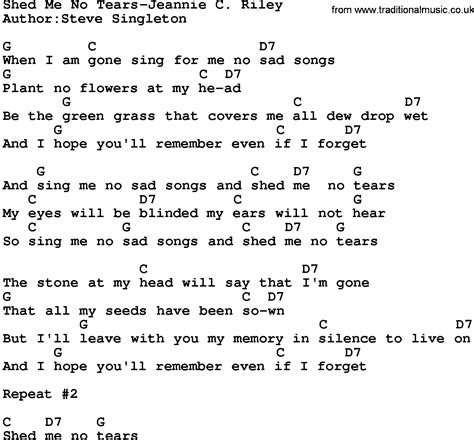 Corpse Tears To Shed Guitar Chords by Country Shed Me No Tears Jeannie C Lyrics And