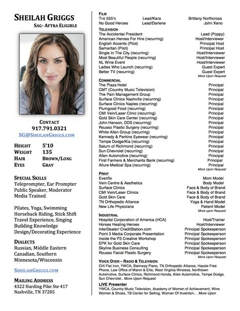 Talent Resume talent resume sheilah griggs