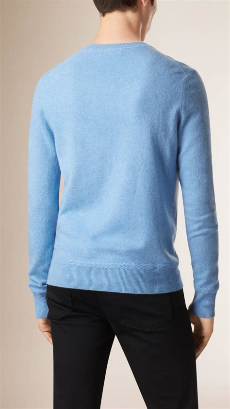 Burberry Crew Neck Cashmere Sweater Light Blue In Blue For