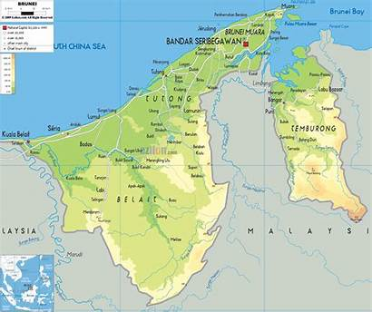 Map Brunei Physical Asia Maps Borneo Political