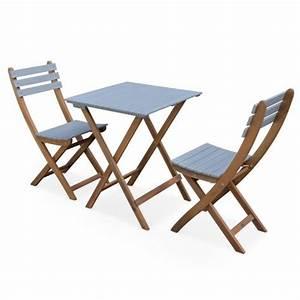 Table De Jardin Bistrot : table de jardin bistrot 60x60cm barcelona bois gris clair pliante bicolore carr e en ~ Teatrodelosmanantiales.com Idées de Décoration