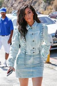 Kim Kardashian wears double denim as she dines at Nobu with Jonathan Cheban | Daily Mail Online