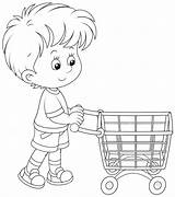 Shopping Cart Trolley Coloring Clip Boy Pages Basket Printable Getcolorings Related Colori sketch template