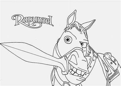 Tangled Coloring Rapunzel Pages Maximus Disney Printable