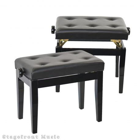 Padded Wooden Bench by Piano Stool Height Adjustable Polished Wooden Bench