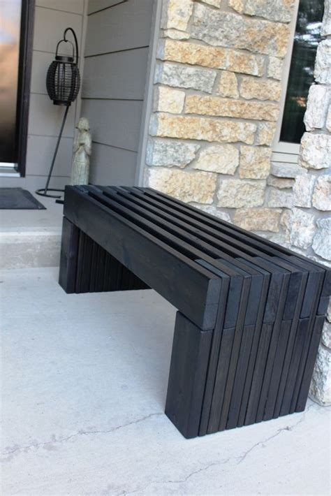 modern slat top outdoor wood bench  yard inspiration