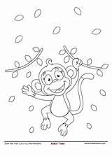 Monkey Coloring Cartoon Sheet Playing Worksheet Run Kidzezone Pdf sketch template