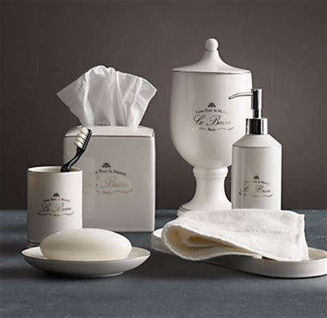 restoration hardware bathroom accessories le bain porcelain accessories white