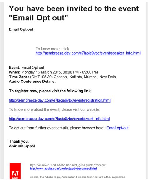 event invitation email template how do we enable the email opt out option on events adobe connect by adobe