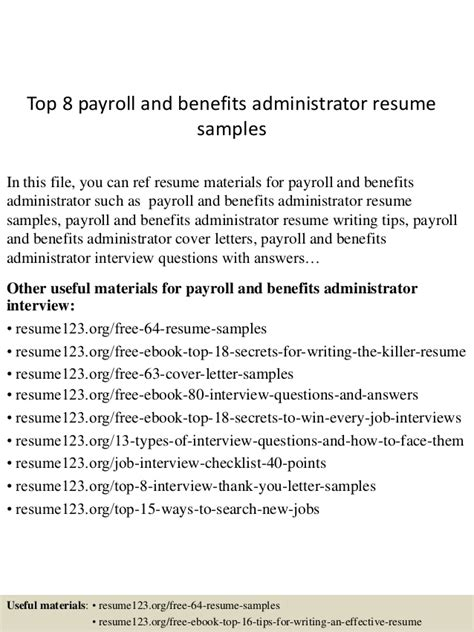Top 8 Payroll And Benefits Administrator Resume Samples. Civil Engineer Resume Sample Pdf. Secretary Resume Cover Letter. Secretary Resume. Deli Job Description For Resume. Resume Retail. High School Teacher Resume. Help Writing Resume. Ats Friendly Resume