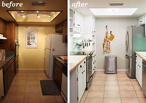 galley kitchen remodel before and after on a bud 1655