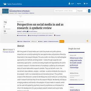 Perspectives on social media in and as research: A ...