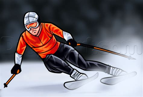 How To Draw A Ski Boat by How To Draw A Skier Step By Step Sports Pop Culture