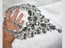 Large Breastshield Bib Necklace Rhinestone by