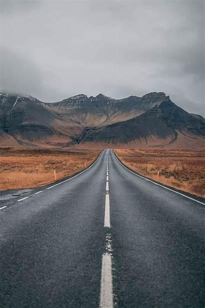 Road Mountains Marking Background Iceland