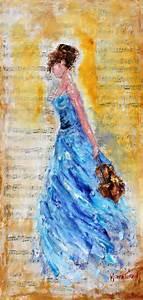 Diy Certificate Original Oil Painting Violinist Girl In Blue By