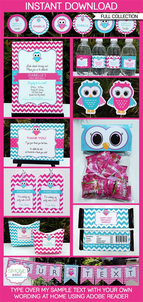 owl party printables invitations decorations