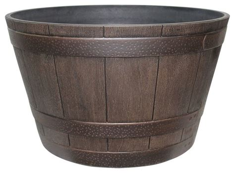 southern patio planters southern patio hdr 007197 hdr whiskey barrel planter 15 5