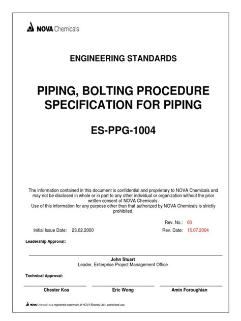 Piping, Bolting Procedure ES-PPG-1004.pdf | Pipe (Fluid