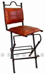 Chaises Haute De Bar Pivotantes En Cuir Et Fer Forg