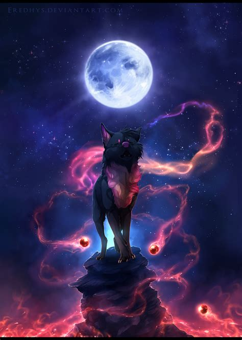 Alpha Wolf Blood Moon Wolf Wallpaper by Song Of The Blue Moon Commission By Eredhys Deviantart