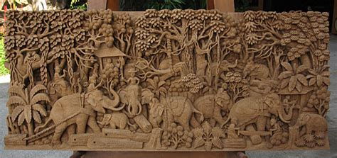 Buy Thai Wood Carving Wall Art Panel Asian Home Decor Online: Teak Sculpture Thai Wall Hangings Table Mounts Free