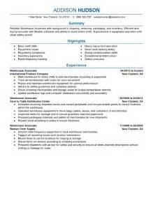 warehouse resume no experience free sles exles