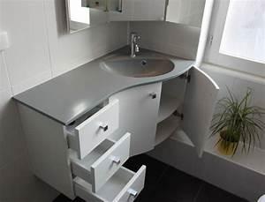 Meuble d39angle pour une petite salle de bain atlantic bain for Meuble salle de bain petit