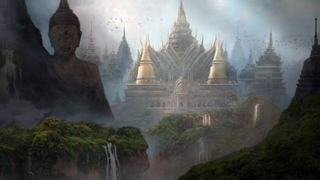 buddhist temple fantasy abstract background wallpapers