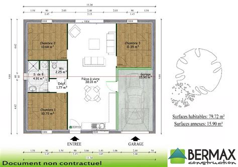 chambre minecraft plan maison plain pied 3 chambres avec garage